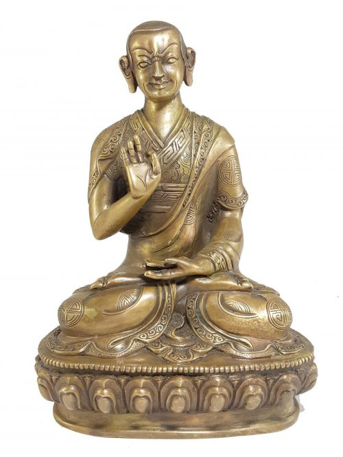 Statue of Khedrup Tsongkhapa Disciple Bronze finishing