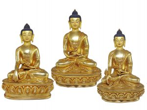 Statue Set of Shakyamuni Buddha Amitabha Buddha and Medicine Buddha with Painted Face