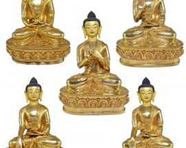 Statue of Pancha BuddhaFive Dhyani Buddha Set with Painted Face