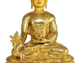 Statue of Medicine Buddha and Painted Face