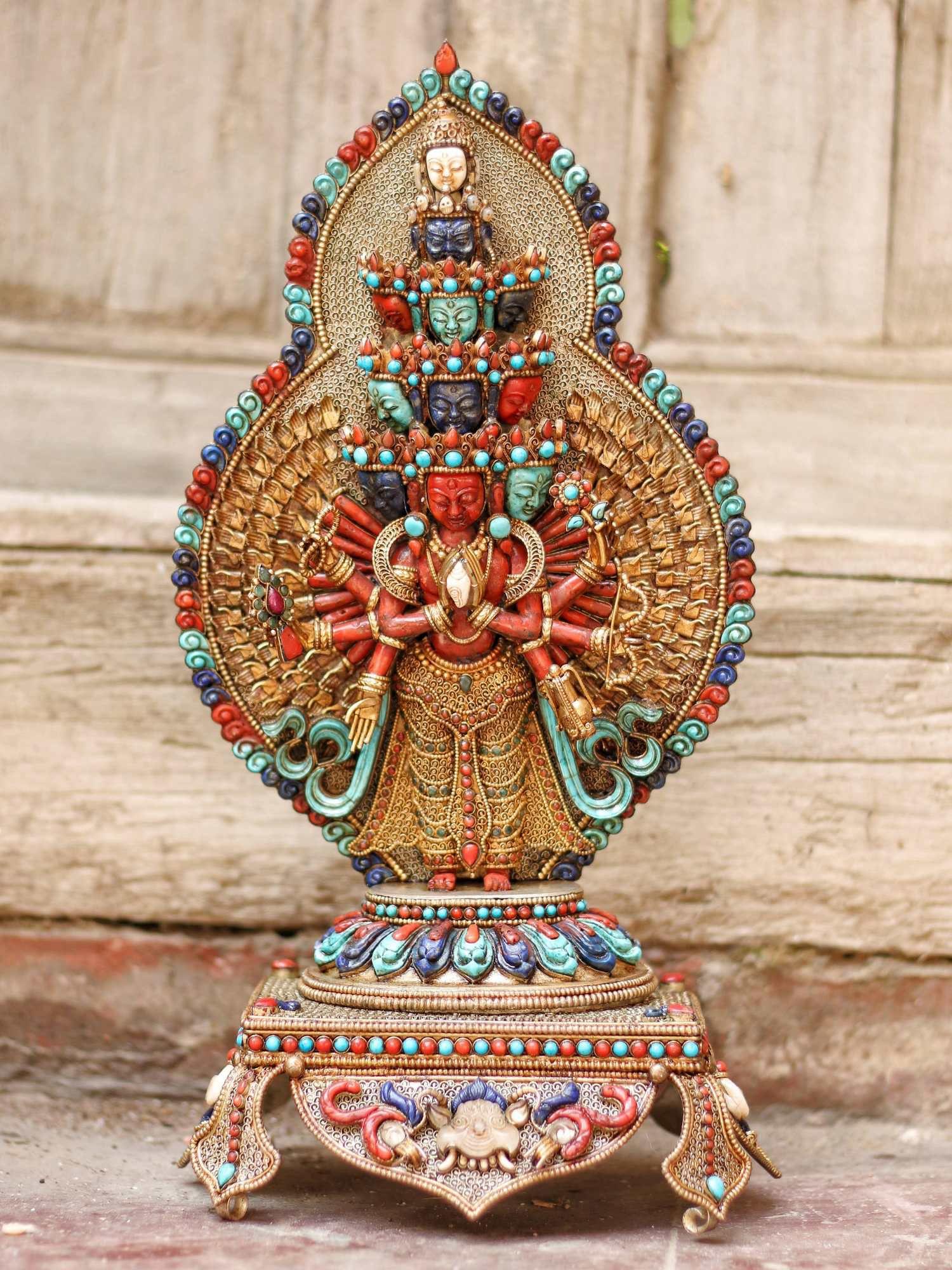 Statue of Sahasrabhuja Avalokitesvara with Coral Torquise and Lapis and Metal Setting