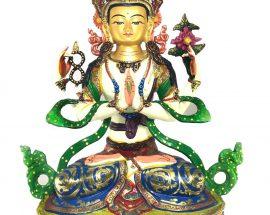 Statue of Chenrezig Thangka Color finishing