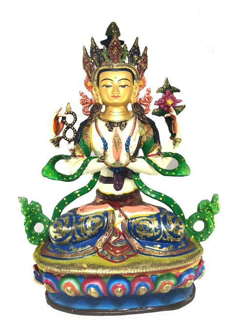 Statue of Chenrezig Thangka Color finishing