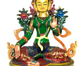 Statue of Green Tara Thangka Color finishing