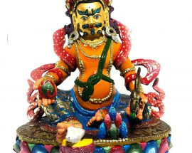 Statue of Yellow Jambala Thangka Color finishing
