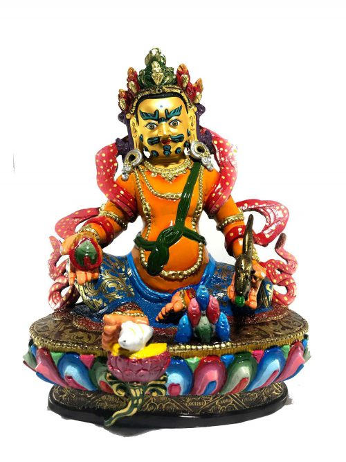 Statue of Yellow Jambala Thangka Color finishing