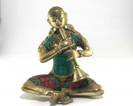Statue of Shehnai Player with Stone Setting