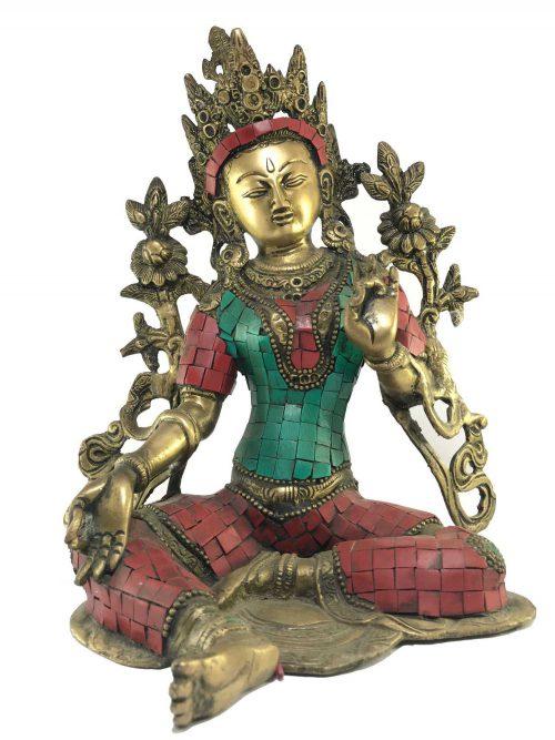 Statue of Green Tara Stone Setting