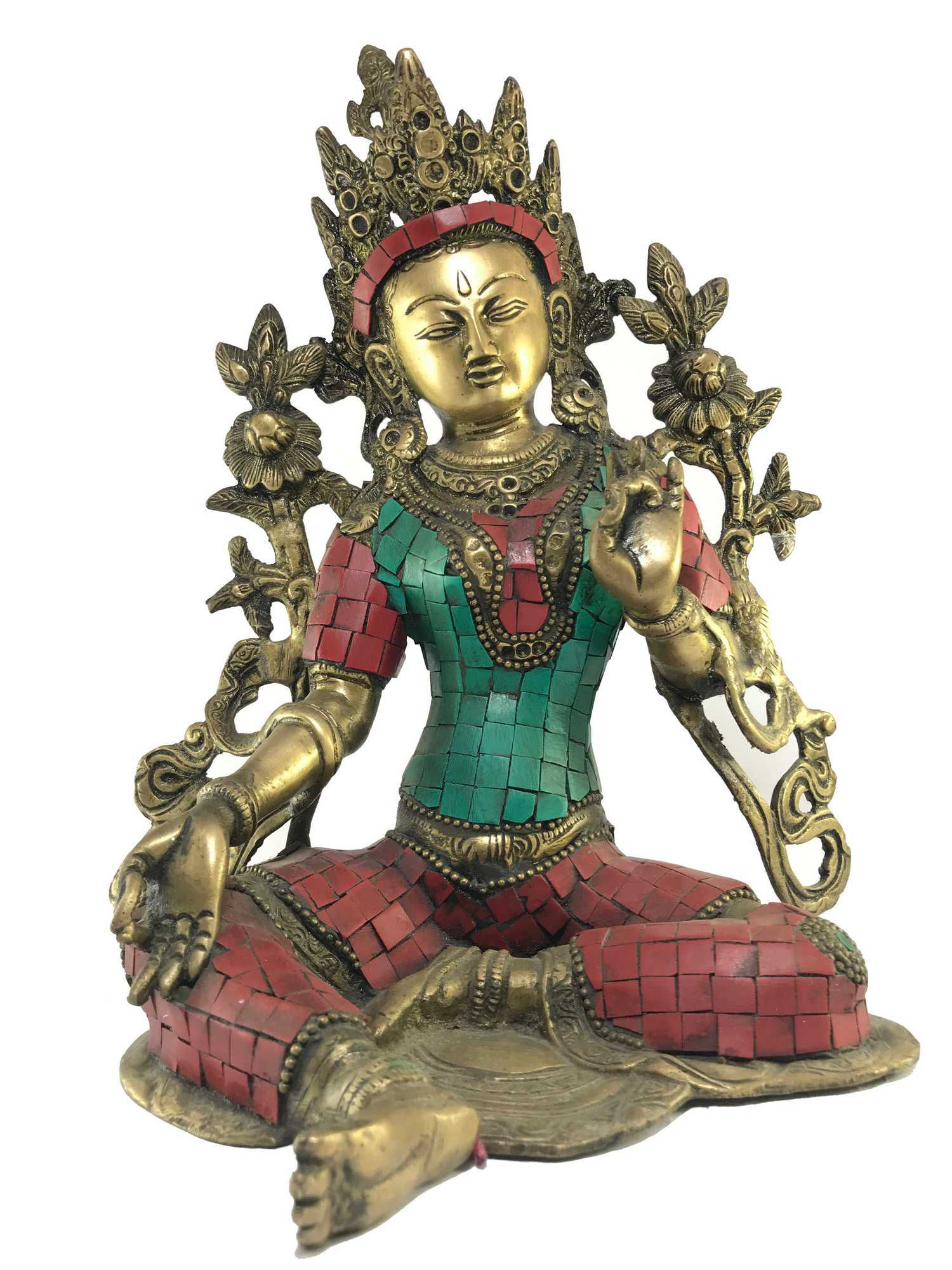 Statue of Green Tara Stone Setting