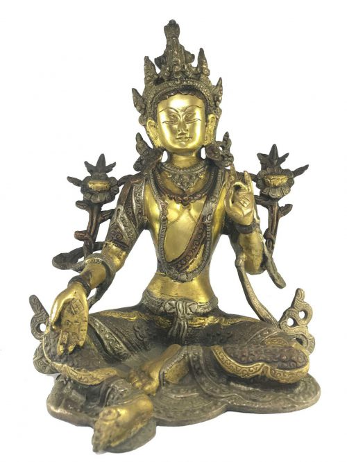 Statue of Green Tara Double Color