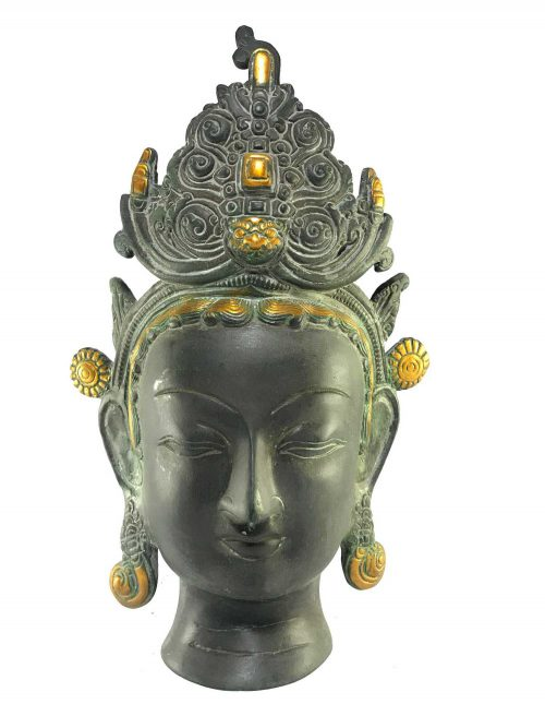 Statue of Green Tara Head Black finishing