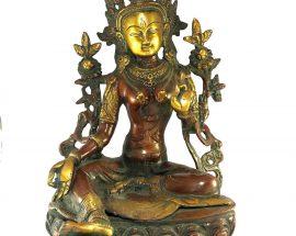 Statue of Green Tara Double Lotus Base Double Color