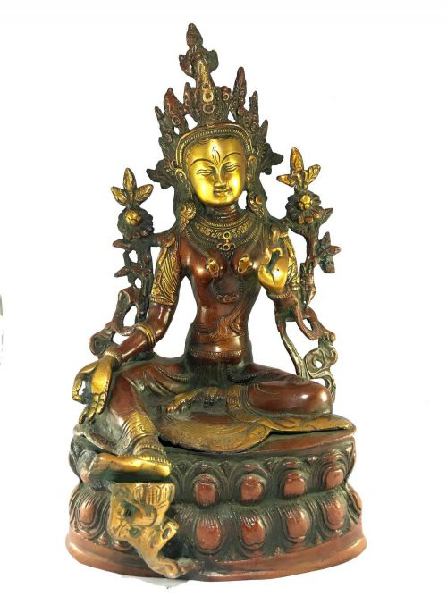Statue of Green Tara Double Lotus Base Double Color