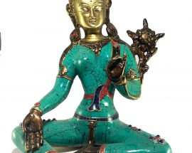 Statue of of Arya Green Tara with Stone Setting