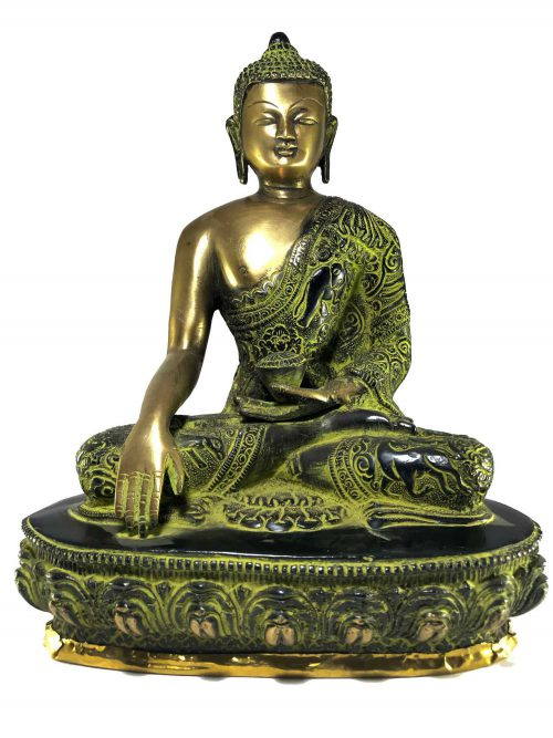 Statue of Shakyamuni Buddha In Green