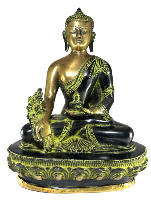 Statue of Medicine Buddha In Green Antique Finishihng