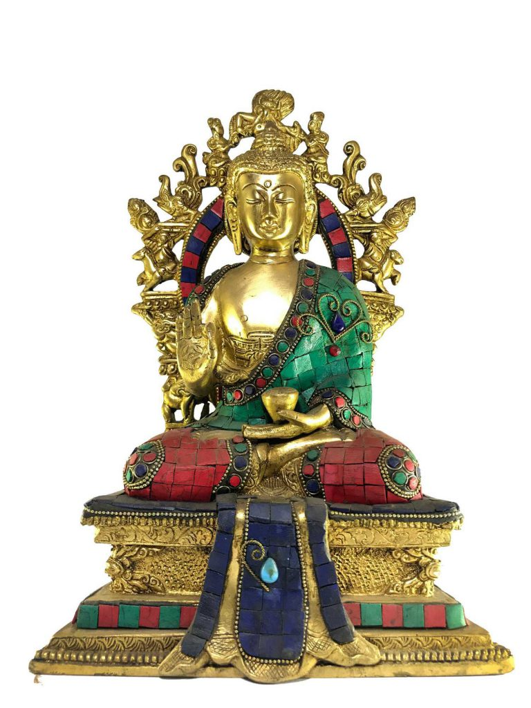 Statue of Statue of Blessing Buddha On Throne with Stone Setting