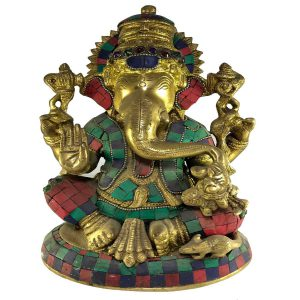 Statue of Ganesh with Stone Setting