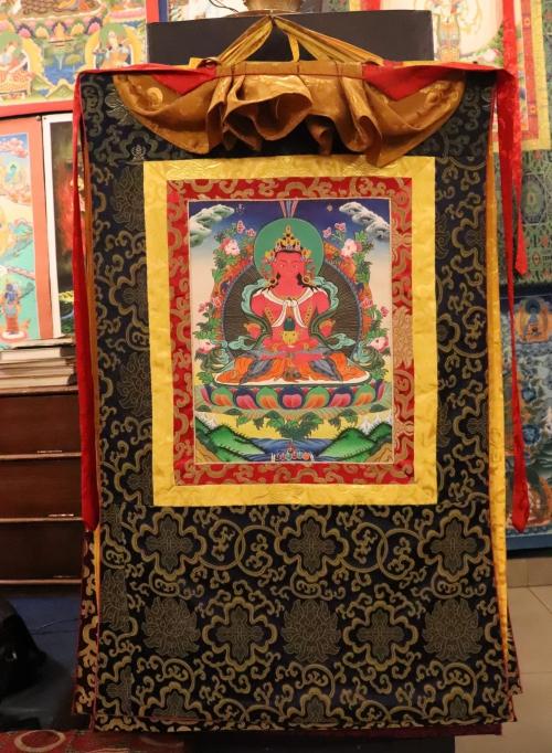 Silk Framed Buddha Amitayus Thangka