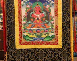Silk Framed Buddha Amitayus Thangka
