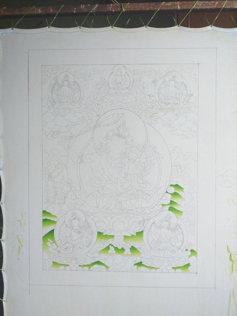 Sketching process of Manjushree Thangka Painting