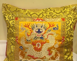 Yellow Silk Brocade Cushion Cover with Dragon Design