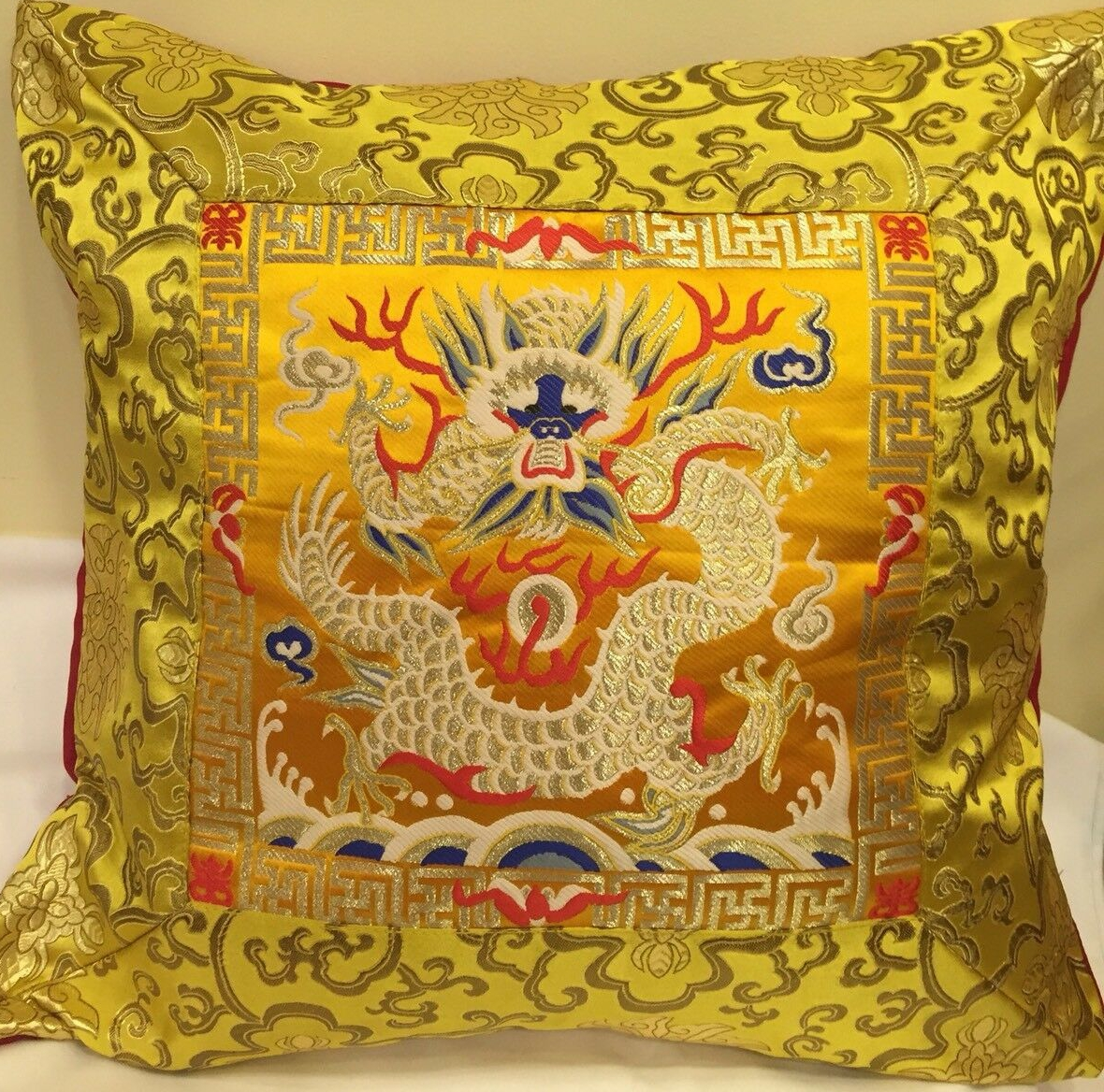 Yellow Silk Brocade Cushion Cover with Dragon Design