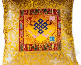 Yellow Silk Brocade Cushion Cover with Endless Knot Design