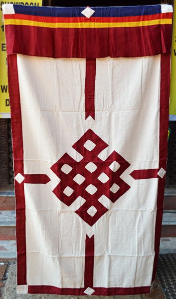 White Curtain with Red Endless Knot