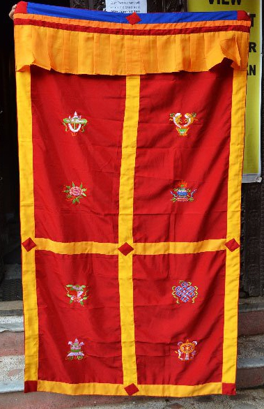 Red Silk Curtain with 8 Auspicious symbols