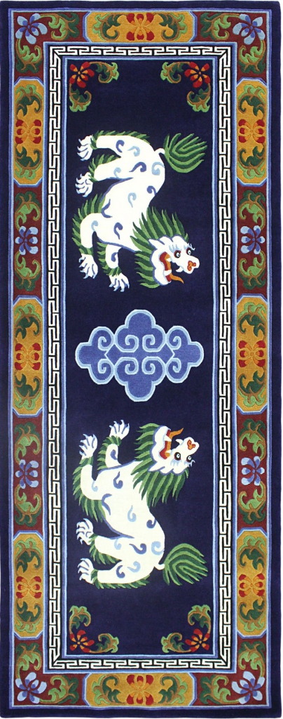 Tibetan Rug with Snow Lion Design