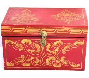 Tibetan Treasure Box with Vase and Flowers