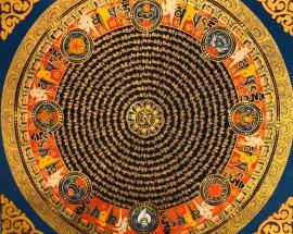 Om Mantra Mandala with 8 auspicious Symbols