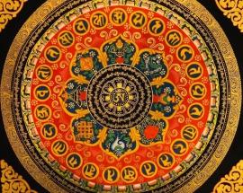 Om Mandala with 8 auspicious symbols