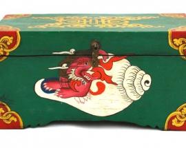 Tibetan Treasure Box with conch shell design