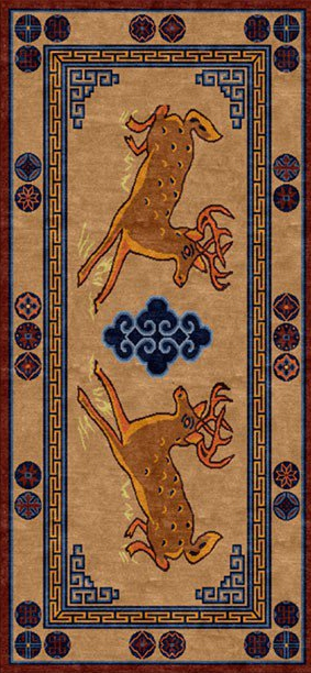 Tibetan Carpet with Deer Design