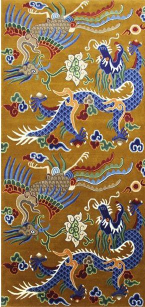 Tibetan Carpet with Dragon and Phoenix