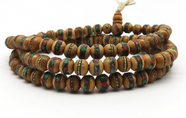 Inlaid wood mala 8mm