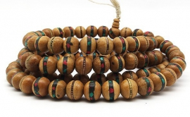 Inlaid wood Mala 12mm