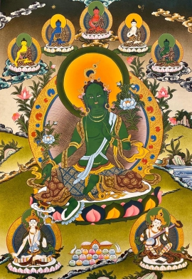 Green Tara with 5 Dhyani Buddha Thangka