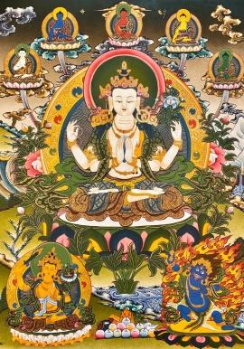 Chenrezig with 5 Dhyani Buddha Thangka