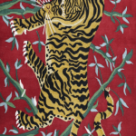 Tibetan Tiger Rug with red background
