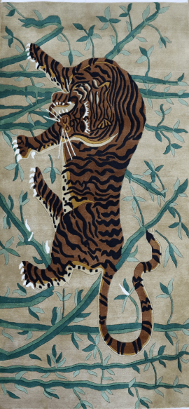 Tibetan Tiger Rug with Bamboo