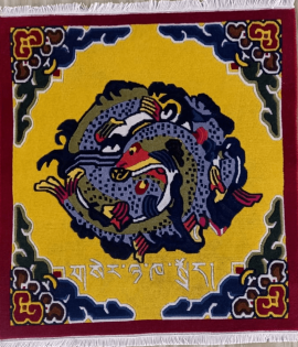 Tibetan Carpet with Auspicious Symbol