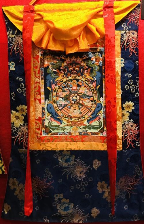 Silk Framed Wheel of Life Thangka