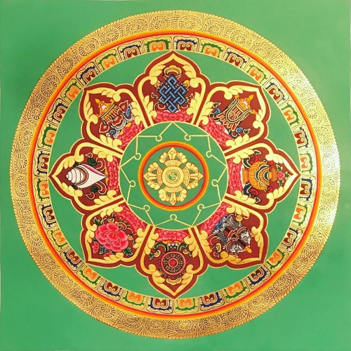 Om Mandala with 8 Auspicious Symbol