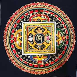 Om Mandala with black background