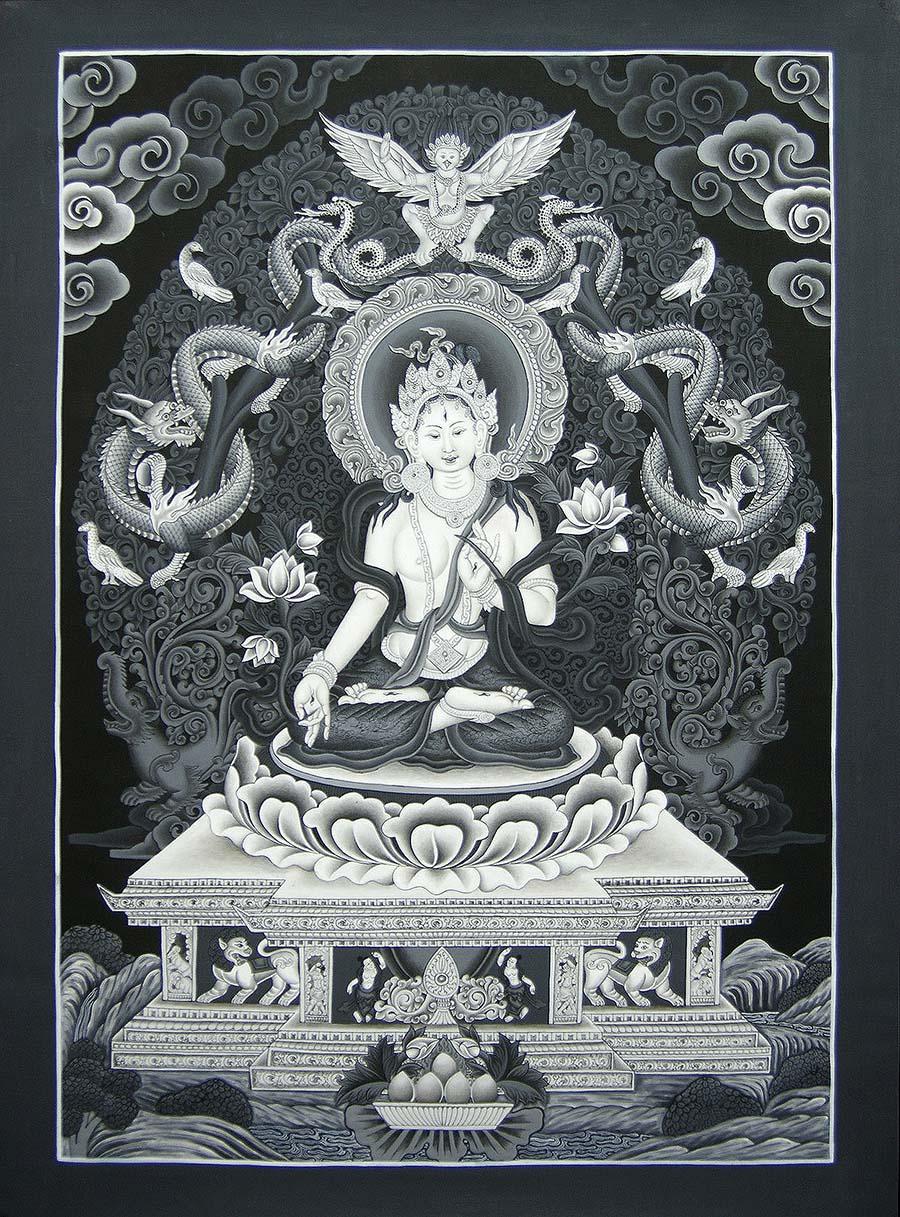 Black and White White Tara Thangka