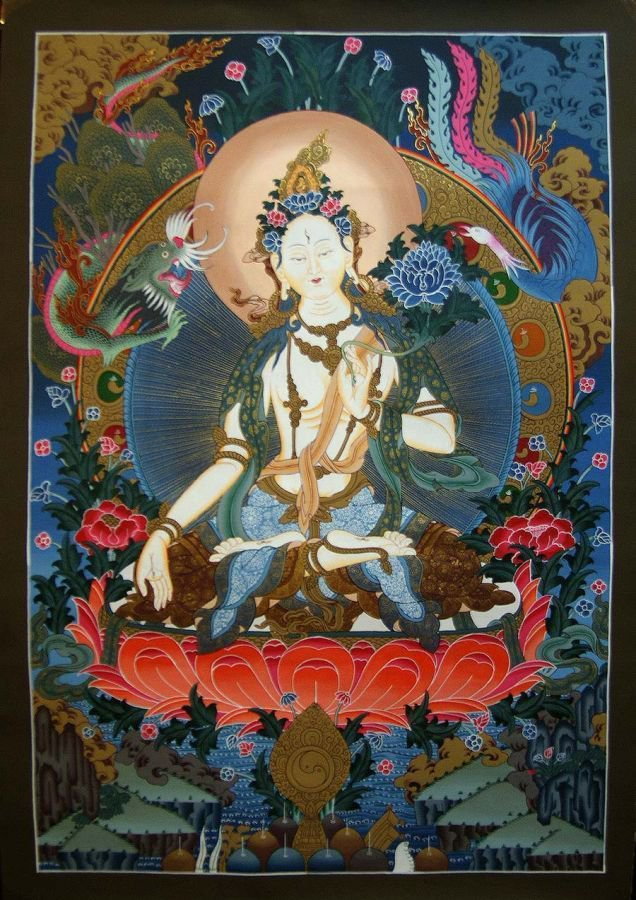 White Tara - Female Buddha Thangka