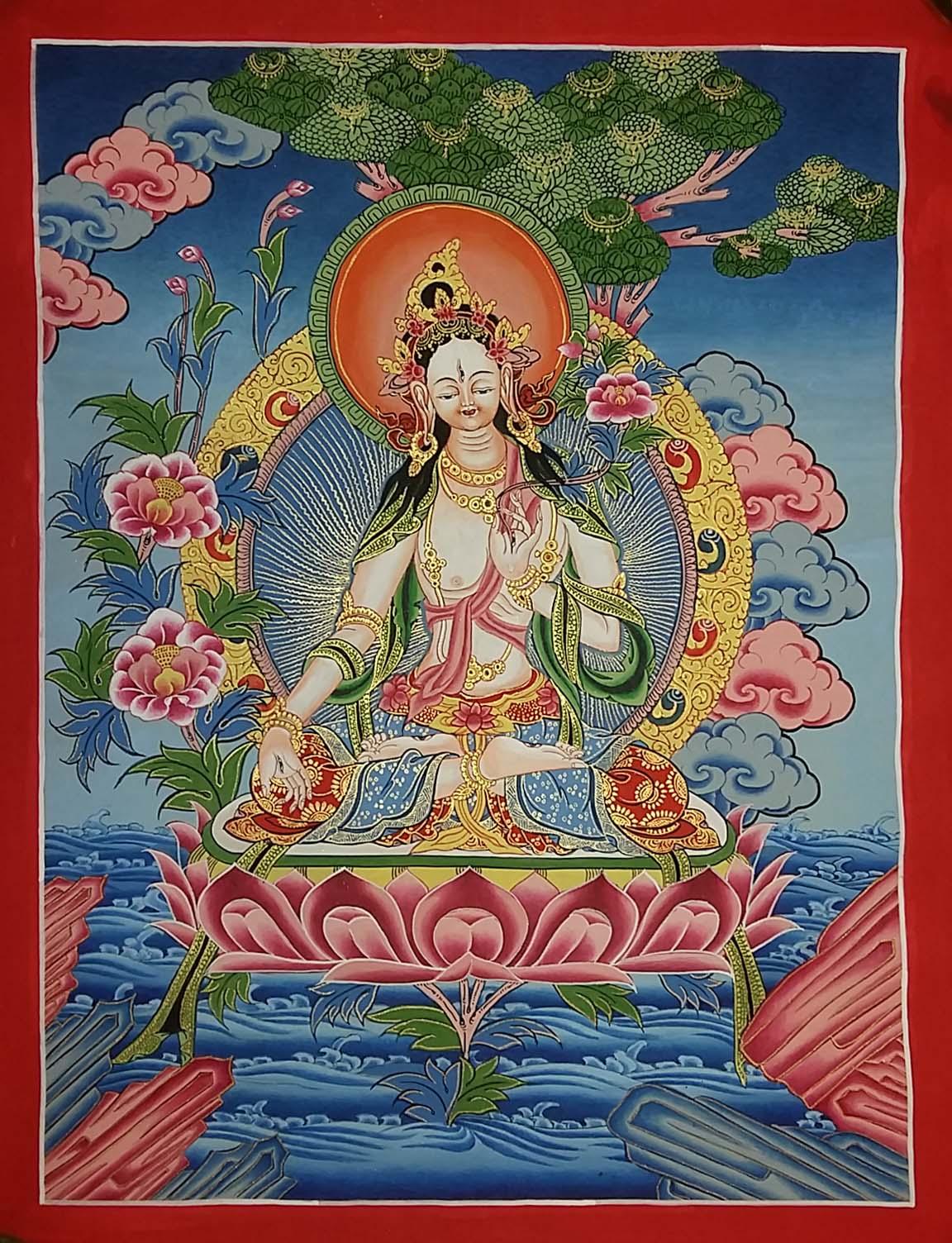 White Tara- Traditional Color Thankga